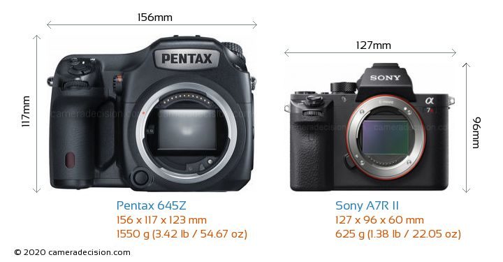 Pentax 645Z vs Sony A7R II Camera Size Comparison - Front View