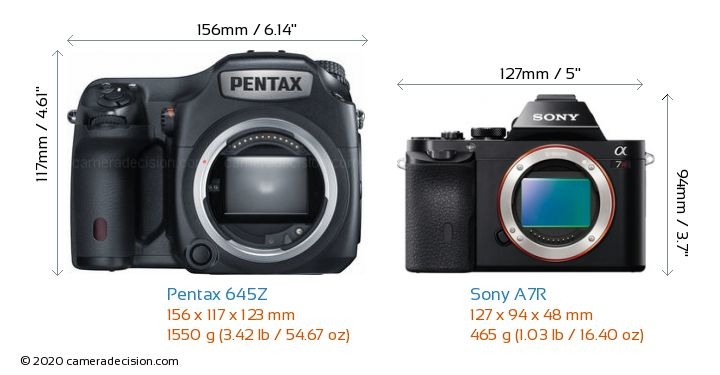 Pentax 645Z vs Sony A7R Camera Size Comparison - Front View