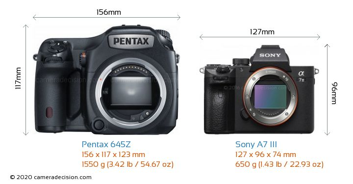 Pentax 645Z vs Sony A7 III Camera Size Comparison - Front View