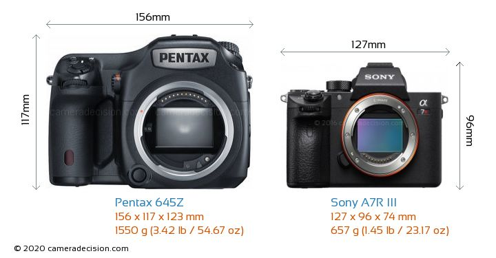 Pentax 645Z vs Sony A7R III Camera Size Comparison - Front View