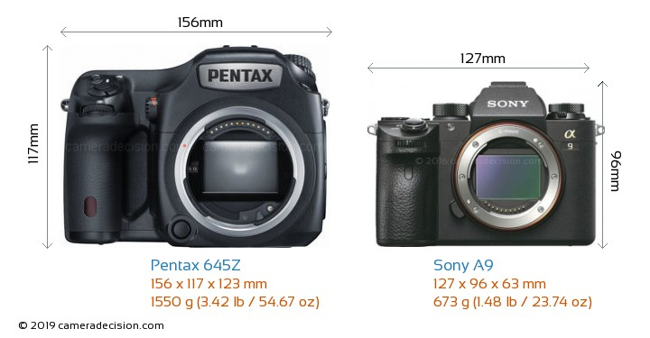 Pentax 645Z vs Sony A9 Camera Size Comparison - Front View