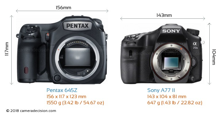Pentax 645Z vs Sony A77 II Camera Size Comparison - Front View