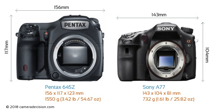 Pentax 645Z vs Sony A77 Camera Size Comparison - Front View