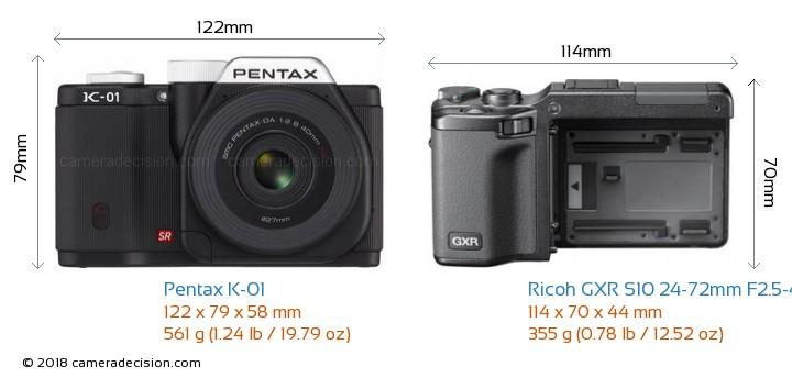 Pentax K-01 vs Ricoh GXR S10 24-72mm F2.5-4.4 VC Camera Size Comparison - Front View