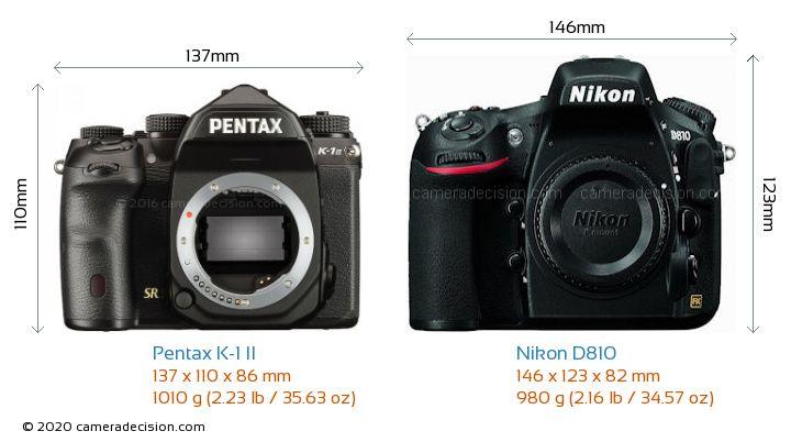 Pentax K-1 II vs Nikon D810 Camera Size Comparison - Front View