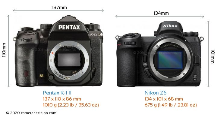 Pentax K-1 II vs Nikon Z6 Camera Size Comparison - Front View