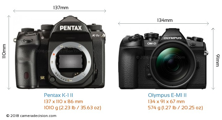 Pentax K-1 II vs Olympus E-M1 II Camera Size Comparison - Front View