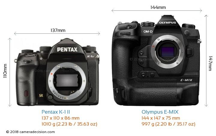 Pentax K-1 II vs Olympus E-M1X Camera Size Comparison - Front View