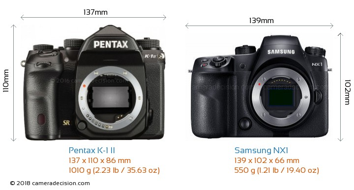 Pentax K-1 II vs Samsung NX1 Camera Size Comparison - Front View