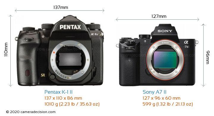 Pentax K-1 II vs Sony A7 II Camera Size Comparison - Front View