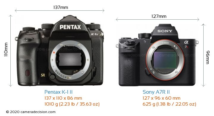 Pentax K-1 II vs Sony A7R II Camera Size Comparison - Front View