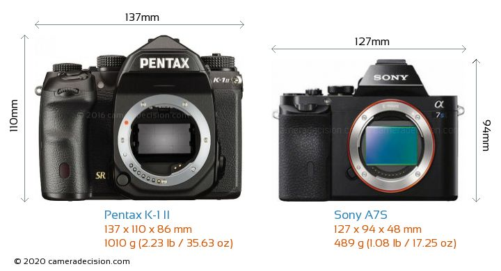 Pentax K-1 II vs Sony A7S Camera Size Comparison - Front View