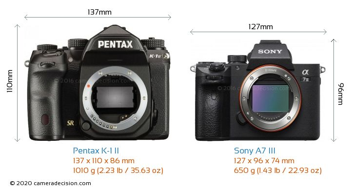 Pentax K-1 II vs Sony A7 III Camera Size Comparison - Front View