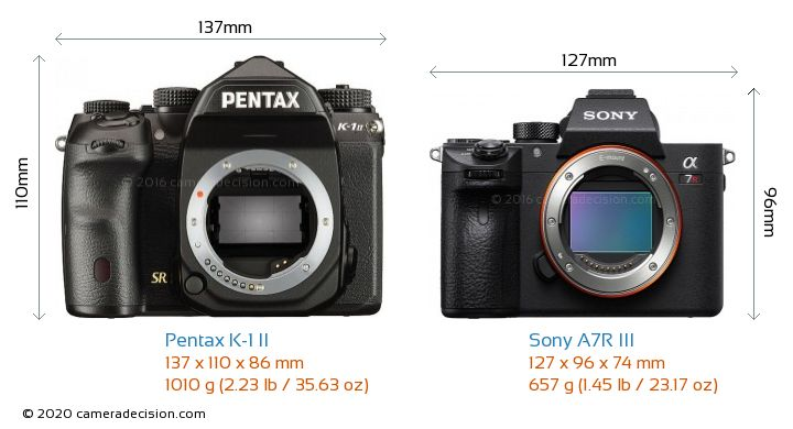 Pentax K-1 II vs Sony A7R III Camera Size Comparison - Front View