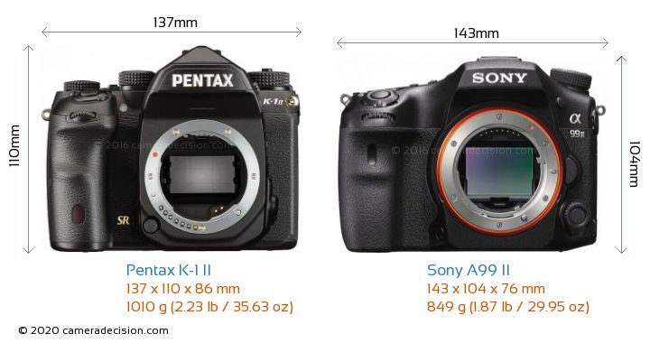 Pentax K-1 II vs Sony A99 II Camera Size Comparison - Front View