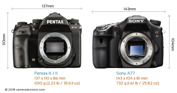 Pentax K-1 II vs Sony A77 Camera Size Comparison - Front View