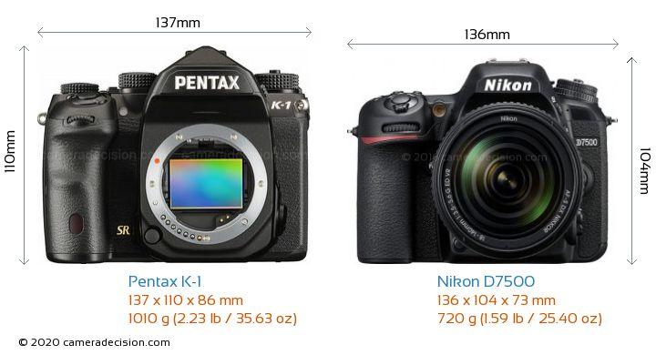 Pentax K-1 vs Nikon D7500 Camera Size Comparison - Front View