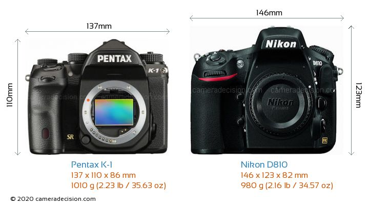 Pentax K-1 vs Nikon D810 Camera Size Comparison - Front View