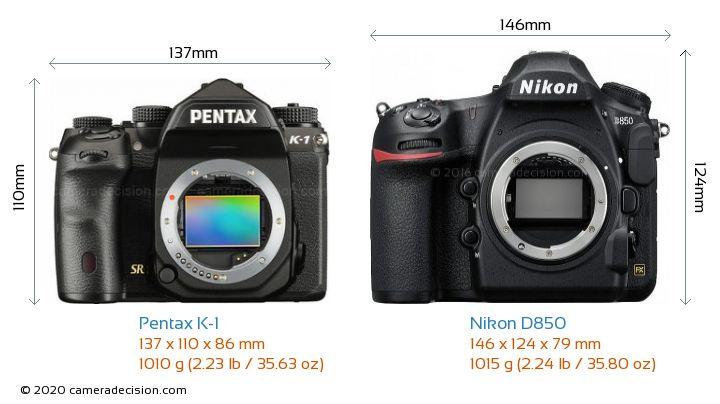 Pentax K-1 vs Nikon D850 Camera Size Comparison - Front View