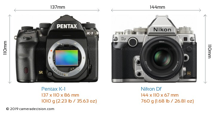 Pentax K-1 vs Nikon Df Camera Size Comparison - Front View
