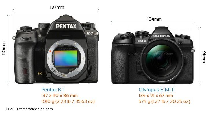 Pentax K-1 vs Olympus E-M1 II Camera Size Comparison - Front View