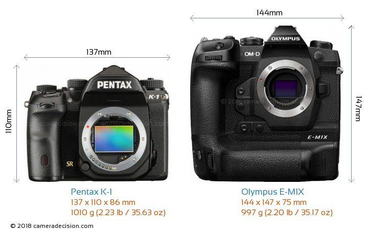 Pentax K-1 vs Olympus E-M1X Camera Size Comparison - Front View