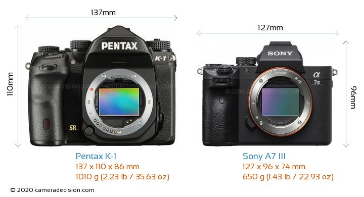 Pentax K-1 vs Sony A7 III Camera Size Comparison - Front View