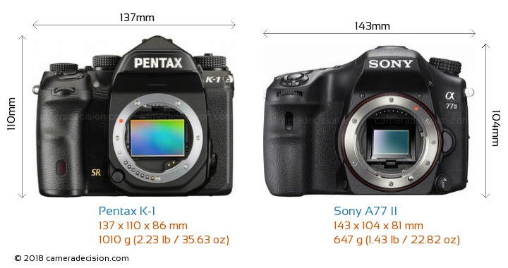 Pentax K-1 vs Sony A77 II Camera Size Comparison - Front View