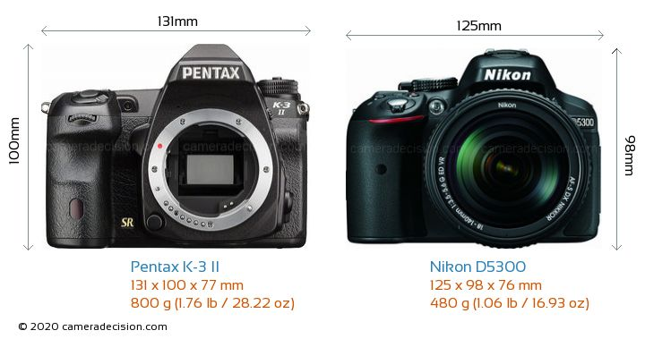 Pentax K-3 II vs Nikon D5300 Camera Size Comparison - Front View