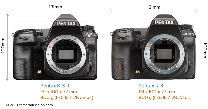 Pentax K-3 II vs Pentax K-3 Camera Size Comparison - Front View
