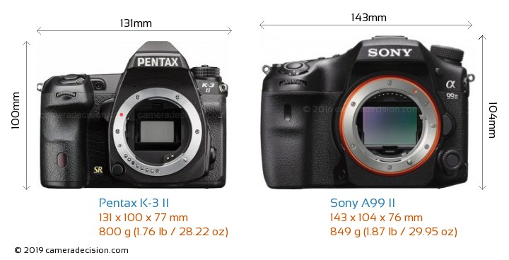 Pentax K-3 II vs Sony A99 II Camera Size Comparison - Front View