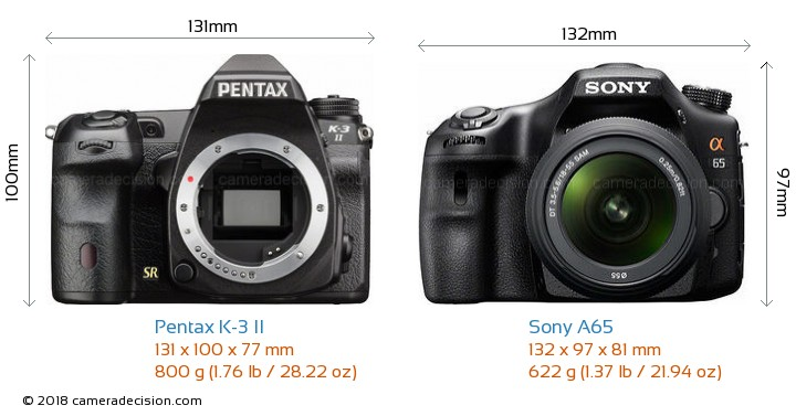 Pentax K-3 II vs Sony A65 Camera Size Comparison - Front View