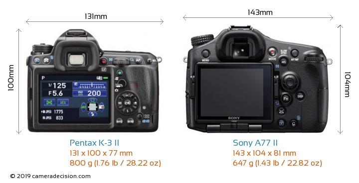 Pentax K-3 II vs Sony A77 II Camera Size Comparison - Front View