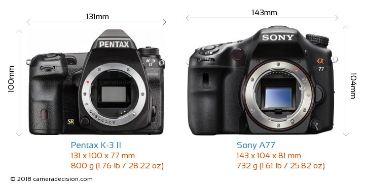 Pentax K-3 II vs Sony A77 Camera Size Comparison - Front View