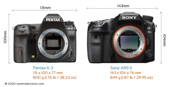 Pentax K-3 vs Sony A99 II Camera Size Comparison - Front View