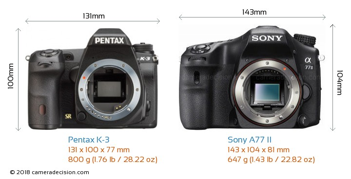 Pentax K-3 vs Sony A77 II Camera Size Comparison - Front View