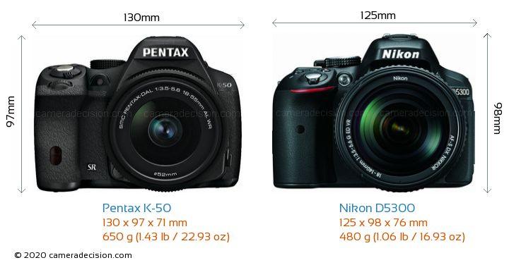 Pentax K-50 vs Nikon D5300 Camera Size Comparison - Front View