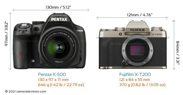 Pentax K-500 vs Fujifilm X-T200 Camera Size Comparison - Front View