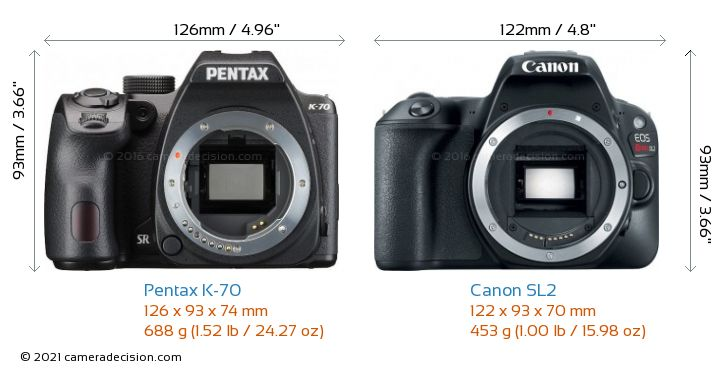 Pentax K-70 vs Canon SL2 Camera Size Comparison - Front View