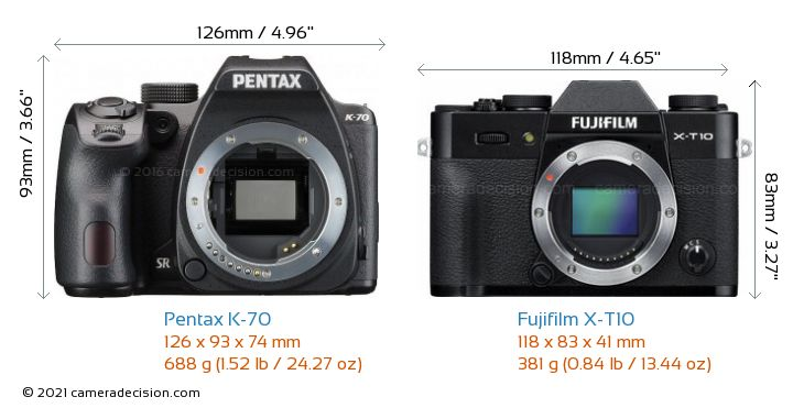 Pentax K-70 vs Fujifilm X-T10 Camera Size Comparison - Front View