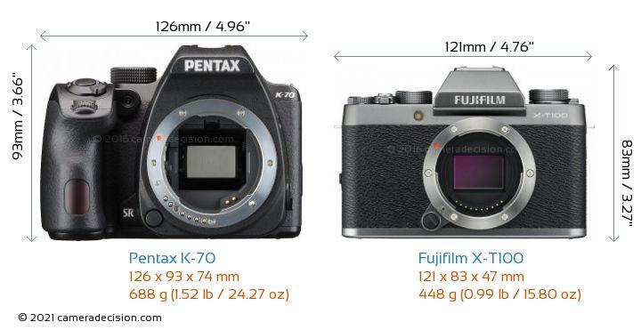 Pentax K-70 vs Fujifilm X-T100 Camera Size Comparison - Front View