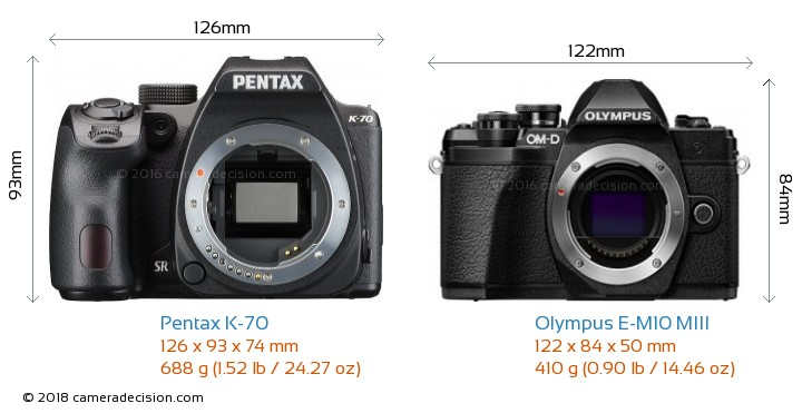 Pentax K-70 vs Olympus E-M10 MIII Camera Size Comparison - Front View