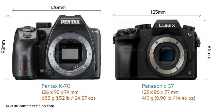Pentax K-70 vs Panasonic G7 Camera Size Comparison - Front View