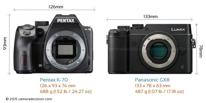 Pentax K-70 vs Panasonic GX8 Camera Size Comparison - Front View