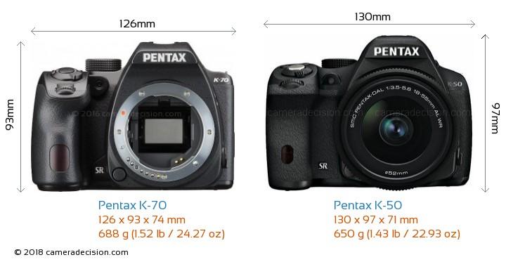 Pentax K-70 vs Pentax K-50 Camera Size Comparison - Front View
