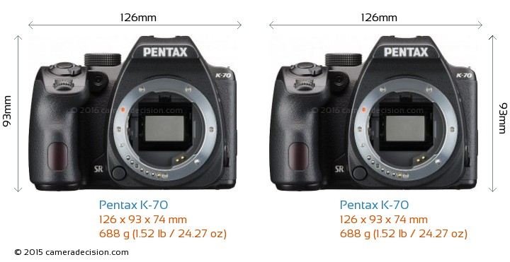 Pentax K-70 vs Pentax K-70 Camera Size Comparison - Front View