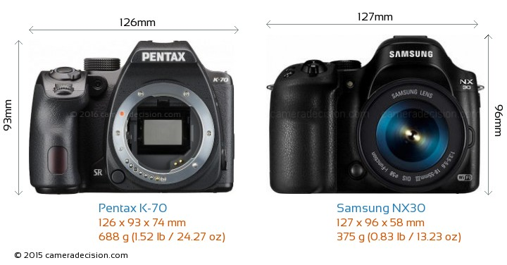 Pentax K-70 vs Samsung NX30 Camera Size Comparison - Front View