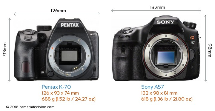 Pentax K-70 vs Sony A57 Camera Size Comparison - Front View