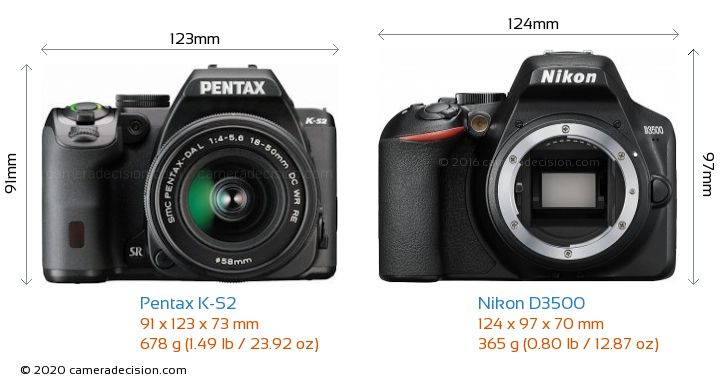 Pentax K-S2 vs Nikon D3500 Camera Size Comparison - Front View