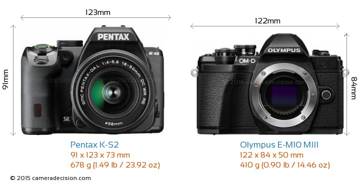 Pentax K-S2 vs Olympus E-M10 MIII Camera Size Comparison - Front View